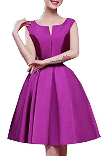 Abschlussball emmani Satin Damen Brautjungfer Tuch das Kleider A Knie Line Violett und Uw4UZ8pq