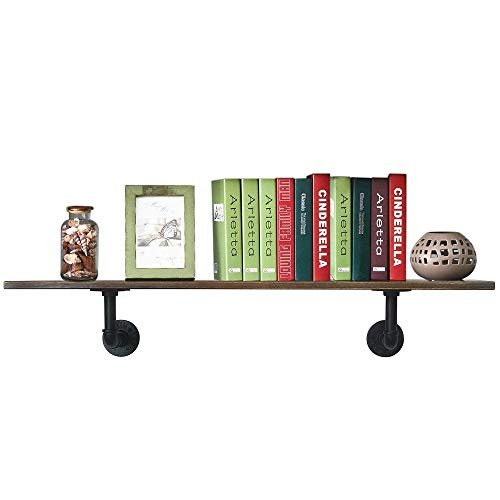 PUNCIA 48in Long Industrial Pipe Solid Wooden Floating Bookcase Kitchen Shelves Long Wall Mount Shelf (48in8in0.8in1Pack) ()