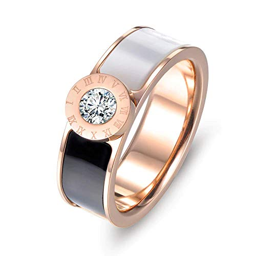 - Designer Inspired Rose Gold Titanium Roman Numerals Love Ring with Enamel and Austrian Crystals (8)