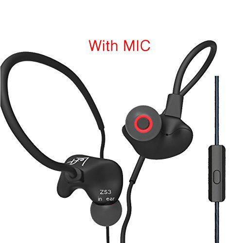Fibest Original KZ ZS3 Hifi Earphone With/Without Microphone Metal Heavy Bass Sound Music Earphone Phone Calls For Mobile Phone PC MP3 (With Mic, Black) ()