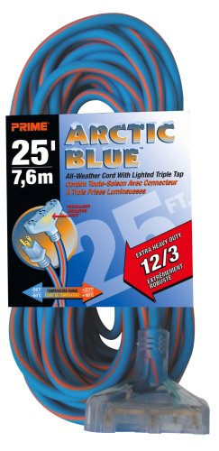 Prime LT630825 Ultra Heavy Duty 25-Foot Triple Tap Artic Blue All-Weather TPE Extension Cord