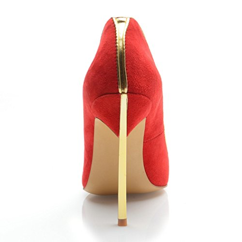 Minitoo Ladies MA04161 Closed Toe Stiletto Heel Suede Party Evening Shoes Red ktlV4T