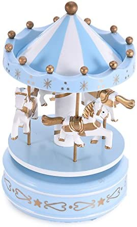 azul Caja de m/úsica de madera del carrusel de 4 caballos vendimia windry merrygoround juguete artware artesan/ía de arte tabla dacoration navidad regalo de boda de cumplea/ños para ni/ñas ni/ños ni/ños