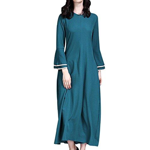 090 Ramadan trompette Musulman Moyen ethniques Vert Orient Maxi Abaya Filles pour Kaftan Turquie Apparel Prire Femmes arabe islamique Modeste Deylaying Vtements Manches Usure Dress glise Robes wPStgg