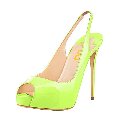 Lime Green Pumps - FSJ Women Peep Toe Extreme High Heels Platform Sandals Slingback Stiletto Prom Dress Pumps Size 12 Lime Green