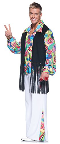Underwraps Costumes Men's Retro Hippie Costume - Outta Sight, Black/White/Multi, One -