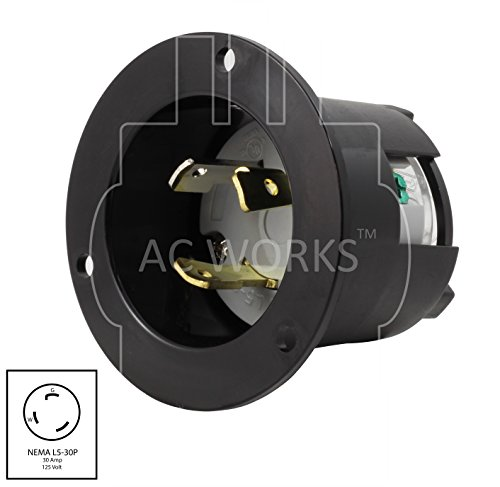 AC WORKS ASINL530P 30-Amp 125-Volt NEMA L5-30P Flanged Power Input Inlet by AC WORKS (Image #1)