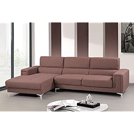 Container Furniture Direct Sydney Collection Mid Century Upholstered Linen Fabric Sectional Sofa With Left Facing Chaise Light Brown