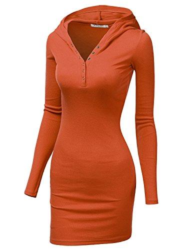 [Doublju Womens Active Knit Henley Neck Dress ORANGE,L] (Maternity Fancy Dress Uk)