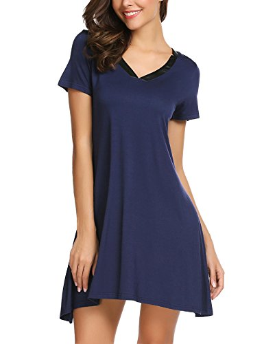 Old Navy Button Front Shirt (Langle Sleep Shirt Womens Nightshirts Viscose V-Neck Short Sleeve Sleepwear (Navy Blue, X-Large))