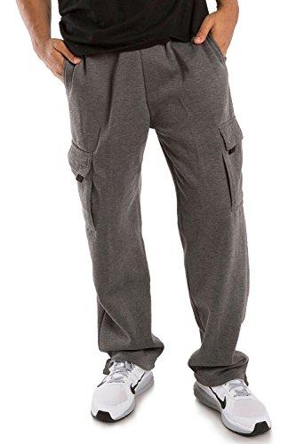 Vibes ProActive Men's Charcoal Fleece Cargo Pants Relax Fit Open Bottom