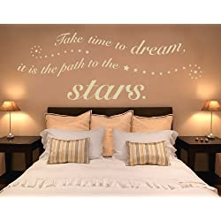 Take Time to Dream, it is the Path to the Stars Wall Decal by Style & Apply - Wall Sticker, Vinyl Wall Art, Home Decor, Wall Mural, quotes and sayings - 1362 - Orange, 79in x 31in