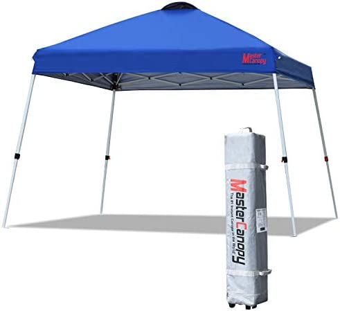 MASTERCANOPY Slant Leg Pop Canopy Tent 10×10 Base 8×8 Top Instant Outdoor Canopy Easy Set up Folding Shelter Blue