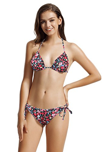 zeraca Women's Tie Side Bottom Triangle Bikini Swimsuits (L14, Wild Flower)