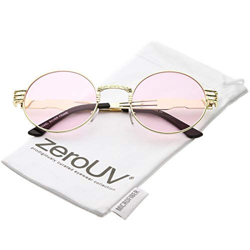 zeroUV - Unique Engraved Metal Steampunk Inspired Color Tinted Oval Sunglasses 60mm (Gold / - Steampunk Inspired Fashion