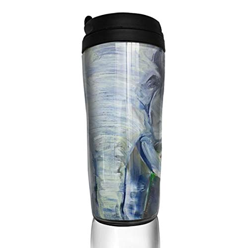 Coffee Mug Elephant Oil Painting Travel Tumbler Insulated Leak Proof Drink Containers Holder Personalized 12 Ounces