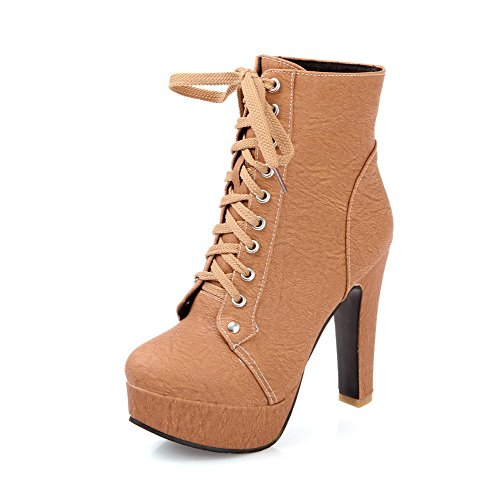 Closed 4 M Frost US Womens PU Round High Solid PU B with Brown Toe Boots Heels AmoonyFashion and Stiletto Bandage f1U5qxw