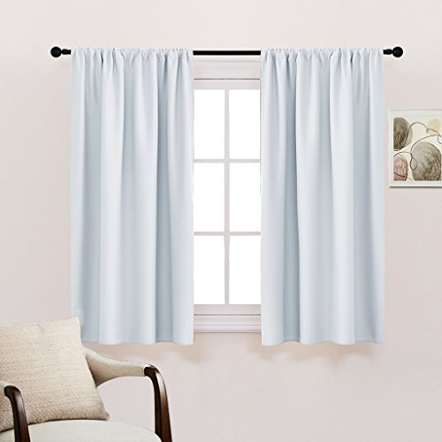 Room Darkening Curtains and Draperies - Rod Pocket Top Thermal Insulated Noise Reducing Curtain Panels for Kitchen Bedroom by PONY DANCE, 42