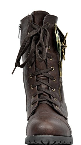 Paio Di Scarpe Da Donna New Winter Lace Up Stivale Da Combattimento Stivali Terran-brown
