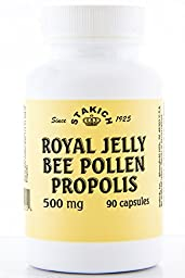 Stakich ROYAL JELLY BEE POLLEN PROPOLIS Capsules (90 CAPS, 500 MG) - Top Quality -