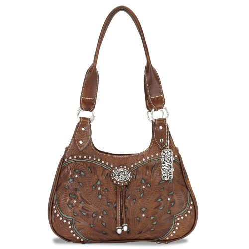 American West Lady Lace 3 Compartment Scoop Tote,Antique Brown/Turquoise,One - West American Bag Hobo