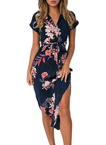 Women's Short Sleeve V Neck Floral Print Sexy Side Split Summer Casual Beach Midi Dress with Belt Navy M 8 10
