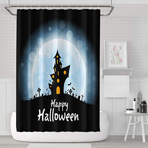 Asoco Shower Curtain Set with 12 Hooks Halloween Party Poster Holiday Card with Haunted House Cemetery Moon HalloweenPolyester Fabric Waterproof Bath Curtain 72X78 Inches Decortive -