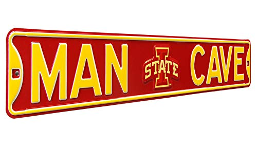 (Authentic  Street Signs NCAA MAN CAVE, Officially Licensed, REAL 3 Foot, Premium Grade Solid Steel Embossed STREET SIGN- Prime Wall Decor for Home, Office, Garage- Perfect Gift for Him!!)