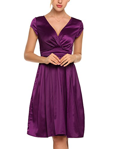 - ACEVOG Women Deep V-Neck Empire Waist Satin Cap Sleeve Short Bridesmaids Cocktail Party Dress Purple