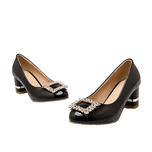 PU Schwarz Heels Solide Pumps Spitze VogueZone009 runde Low Damen geschlossene Schuhe PwfvOEBqxS
