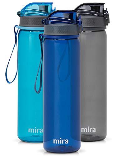 MIRA 25 oz Reusable Tritan Water Bottle   BPA-Free Plastic Sports Water Bottle   Leak Proof Locking Flip Top Lid with Easy Flow Spout   Navy ()