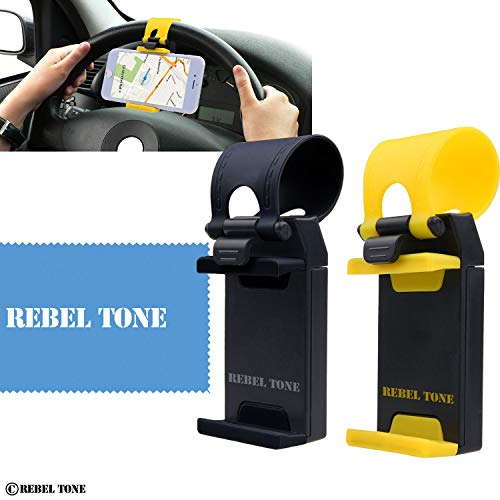 - Universal Phone Holder for Car Steering Wheels - 2 Pack - Strong Non Slip Connector - Auto Fit - For iPhone 7, 6, 6s, Samsung Galaxy S7, S6, etc. - With Rebel Tone Cleaning Cloth and Retail Pack