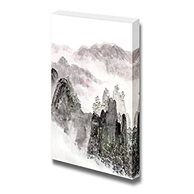 Traditional Chinese Painting of High Mountain Landscape with Cloud and Mist Wall Decor, Classic Design, Amazing Picture