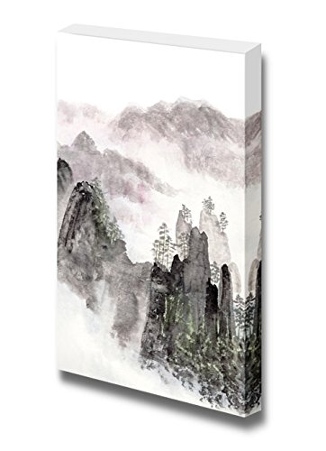 Traditional Chinese Painting of High Mountain Landscape with Cloud and Mist Wall Decor