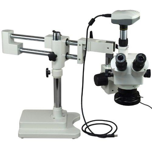 OMAX 5X-80Xデジタルズーム双眼デュアルバーブームは5.0MPのUSBカメラとライトコントロールボックス144 LEDリング照明とステレオ顕微鏡スタンド   B004RBJXZG