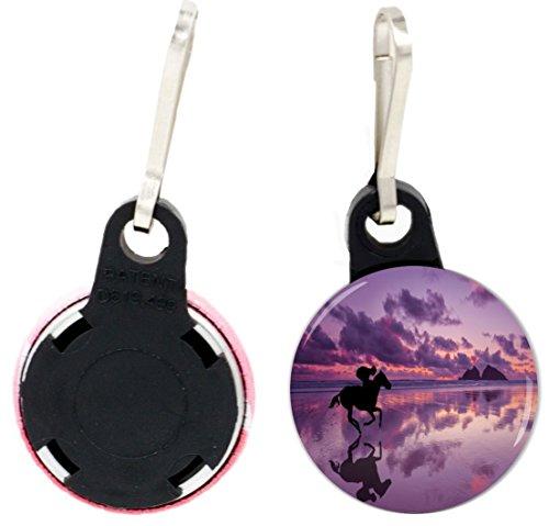 Rider Pull - Rikki Knight Horse and Rider Silhouette Design 1 inch Zipper Pull Button (set of 4)