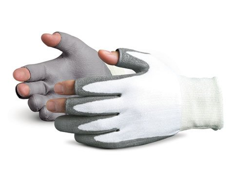 Superior SSXPU3OF Superior Touch Dyneema Open-Finger Glove with Polyurethane Coated Palm, Work, Cut Resistant, 13 Gauge Thickness, Size 9, Gray/White (Pack of 1 Pair) (Palm Gloves Dyneema Coated)