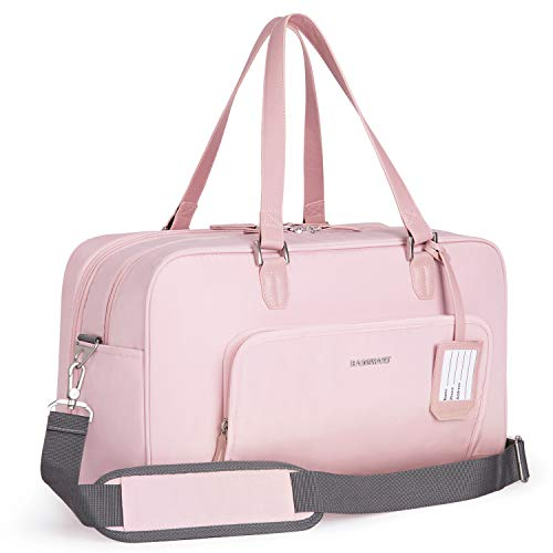 BAGSMART Damen Weekender Reisetasche Handgepäck Tasche, Sporttasche mit Schuhbeutel, 15,6 Zoll Laptopfach für Urlaub, Arbeit, Sport, 27 Liter, Rosa