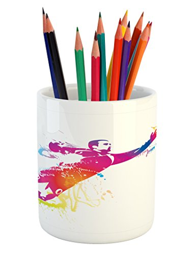 Ambesonne Soccer Pencil Pen Holder, Goalkeeper Catches the Ball Goal Star Training International Game Artsy Spray Design, Printed Ceramic Pencil Pen Holder for Desk Office Accessory, Multicolor by Ambesonne