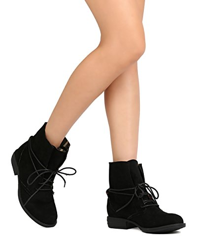Women Faux Suede Flared Collar Wraparound Lace Up Bootie FG43 - Black (Size: 8.5)