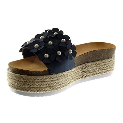 Slip Corde Bleu 6 Chaussure Mule Mode cm Plateforme Femme Marine on Perle Compensé Talon Sandale Angkorly Plateforme Fleurs Iqpaa