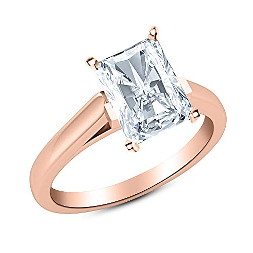 0.91 Near 1 Ct GIA Certified Radiant Cut Cathedral Solitaire Diamond Engagement Ring 14K Rose Gold (I Color SI1 Clarity)