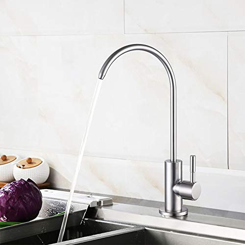 Kitchen Water Faucet 304 Stainless Steel Lead-Free Drinking Water Faucet High Arc Single Handle Cold Water Kitchen Bar Sink Faucet