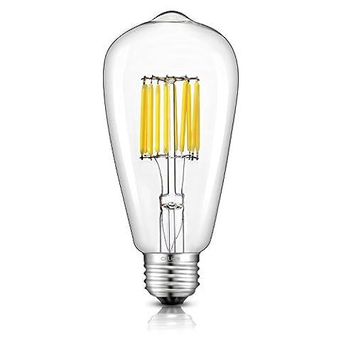 CRLight 10W Edison Style Vintage LED Filament Light Bulb, 5000K Daylight (Super Bright White) 1000LM, E26 Medium Base Lamp, ST21(ST64) Antique Shape, 100W Incandescent Equivalent, (100watt Edison Light Bulbs)