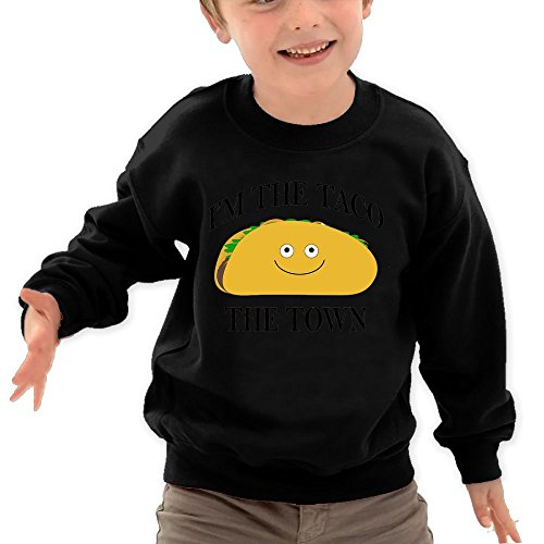 Puppylol Taco The Town Kids Classic Crew-Neck Pullover Hoodie Black 5-6 Toddler