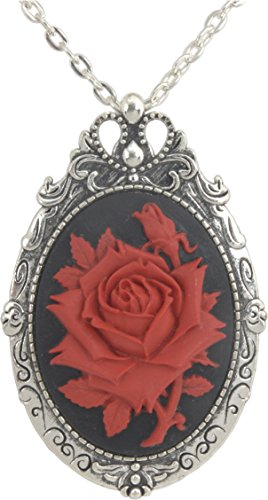 ViciBeads Unisex Red Rose Goth Cameo Brooch Pin and Pendant + Free Chain Bag