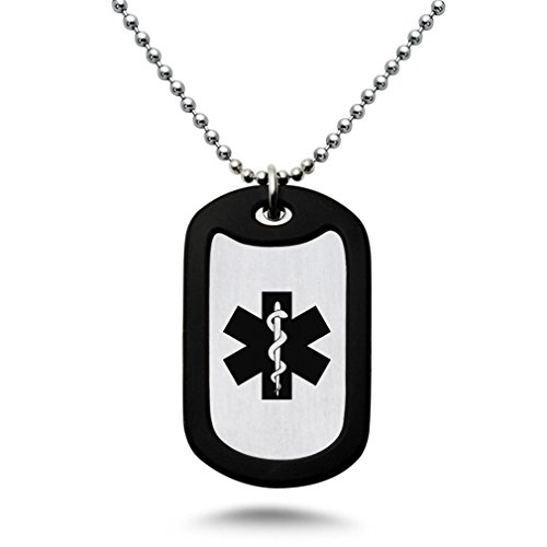 Stainless Steel Medical Alert ID Necklace, Personalized Custom Engraved Dog Tag - Tag Engraved Heart Necklace