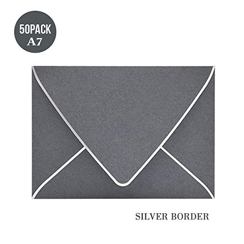 - A7 Gray Envelopes 5 x 7 with Siver Border -50 Pack, V Flap, Quick Self Seal, for 5x7 Cards| Perfect for Weddings, Invitations, Photos, Graduation, Baby Shower (Gray-Silver Border)