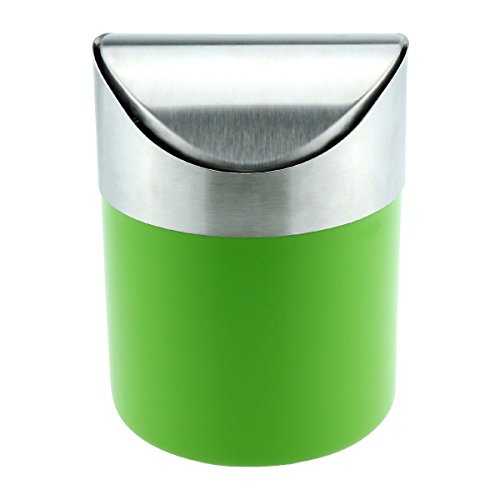 Samyoung Recycling Trash Can Fashion Mini Brushed Stainless Steel Wave Cover Counter Top Trash Can Garbage Bin Wastebasket Perfect for the Kitchen Bathroom Office Car (Green Trash Can)