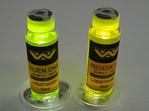 Dead Head Props Weyland Yutani Corp Alien and Predator DNA Combo Halloween Movie Cosplay Prop Real Medical Vials with Free LED Lighted Display Disc